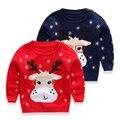 2016 novos pijamas Do Bebê Das Meninas Dos Meninos Das Crianças Das Crianças do Natal de Malha padrão fawn Inverno Pullovers Outono Quente Casacos Blusas