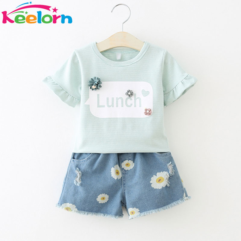 Keelorn Girls Clothing Sets Casual Style Girls Clothes Striped short sleeves T shirt Small chrysanthemum denim