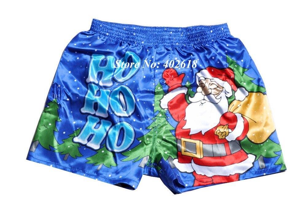 1Pcslot Silk Boxers Shorts, Santa Men Silk Sleepwear -2559