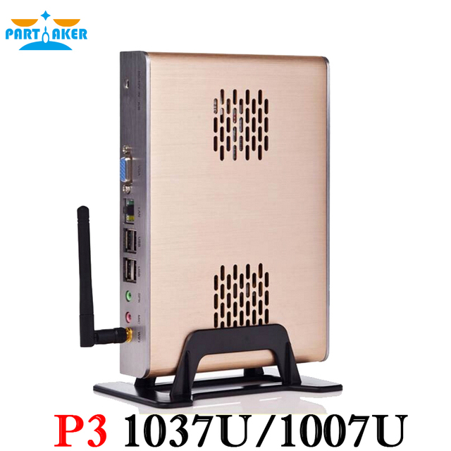 Fanless caixa embutida pc hdmi com celeron c1037u 1.8 ghz wifi rs232 opcional 8g ram 64g ssd do windows chassis alluminum completo