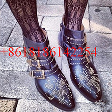 Hot Beige Studded Leather Ankle Booties Women's Low Heeled High Top Boots Gold Buckles Short Motorcycle Boot Shoes Zapatos Mujer