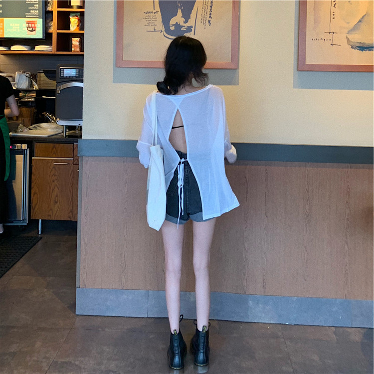 Women Ladies Fashion Long Sleeve T Shirt Loose Open Back Lace Up Tops Lady Women Perspectiv Casual Hollow Out Backless Shirt Top
