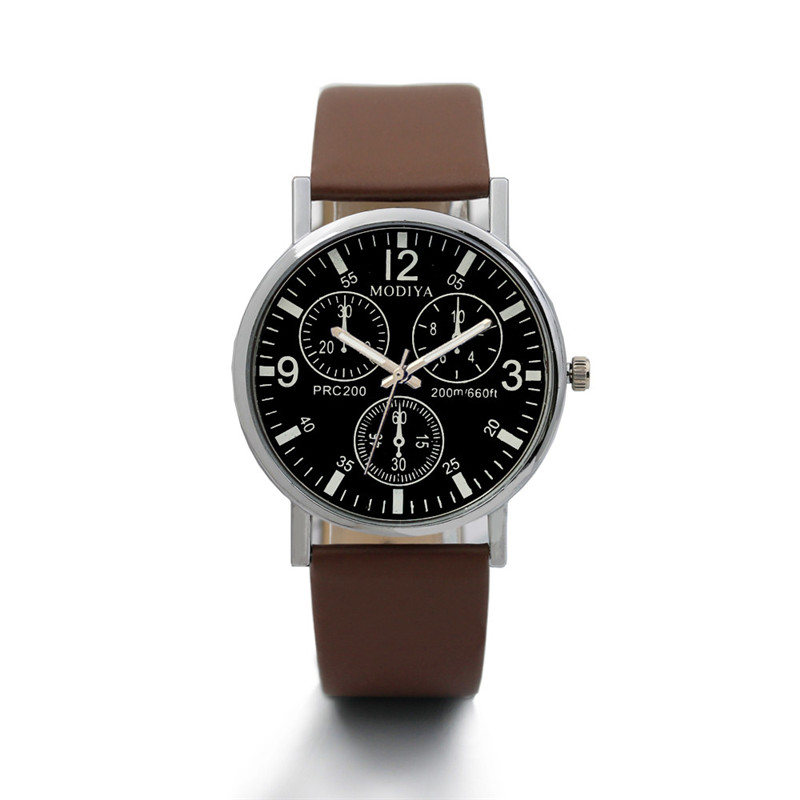 Men's Watch Brown Black Electronic Quartz Casual Fashion for Glass Blue