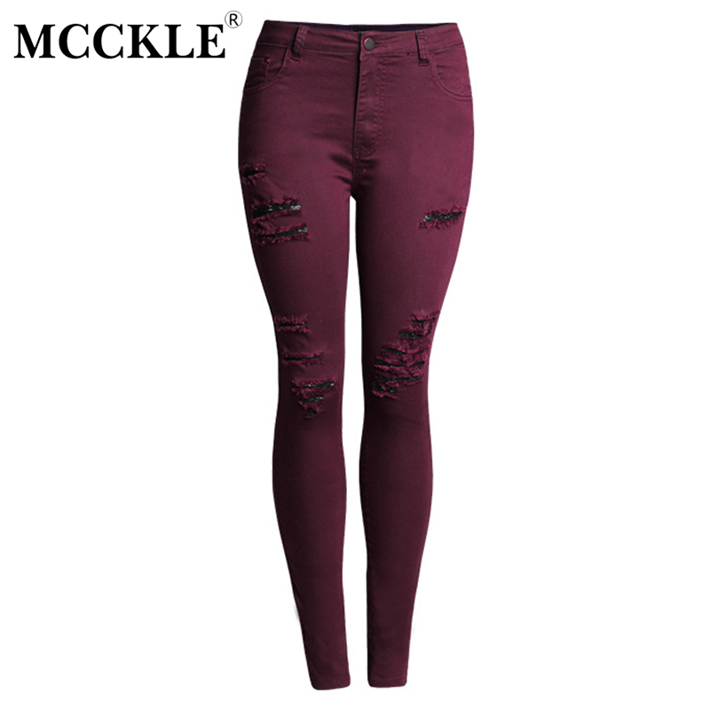 MCCKLE Women's Holes High Waisted Denim Jeans Female Stretch Ripped Skinny Slim Jeans Pants Trousers Distressed  Woman Plus Size europe hot sale slim ripped women jean high waisted jeans cotton blue skinny jeans woman denim pants plus size