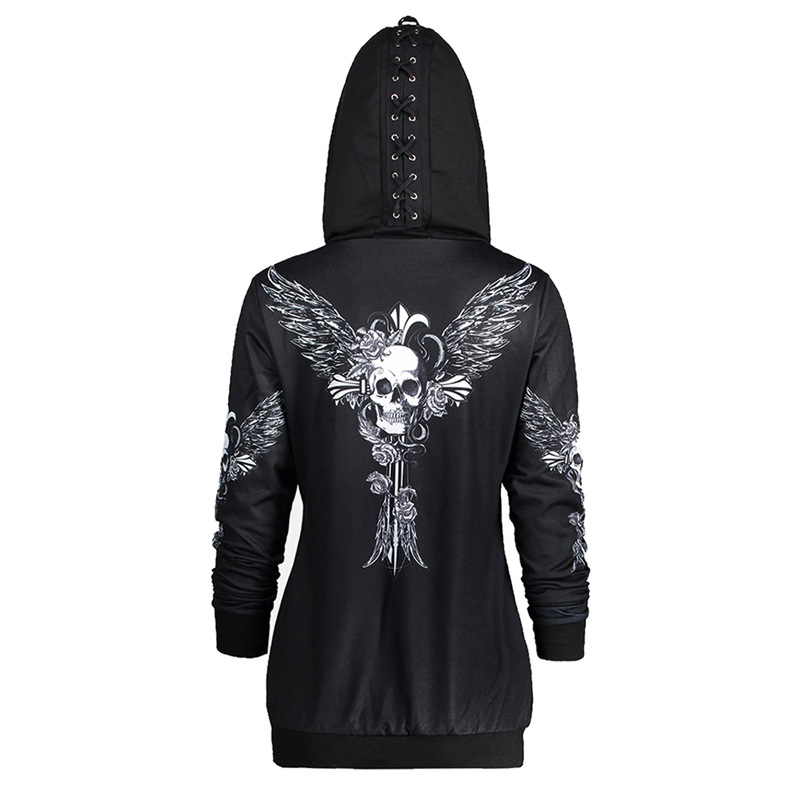fff1c0c8d New Autumn Women Skull Wings Print Halloween Zip Up Hoodie Punk Long Sleeve  Spring Thin Sweatshirts Coat Cool Hoodies-in Hoodies & Sweatshirts from  Women's ...