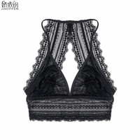 JYF Luxury Sexy Open Ultra Thin Bra Wire Free Underwear Breathable Lace Bra Sexy Back Design