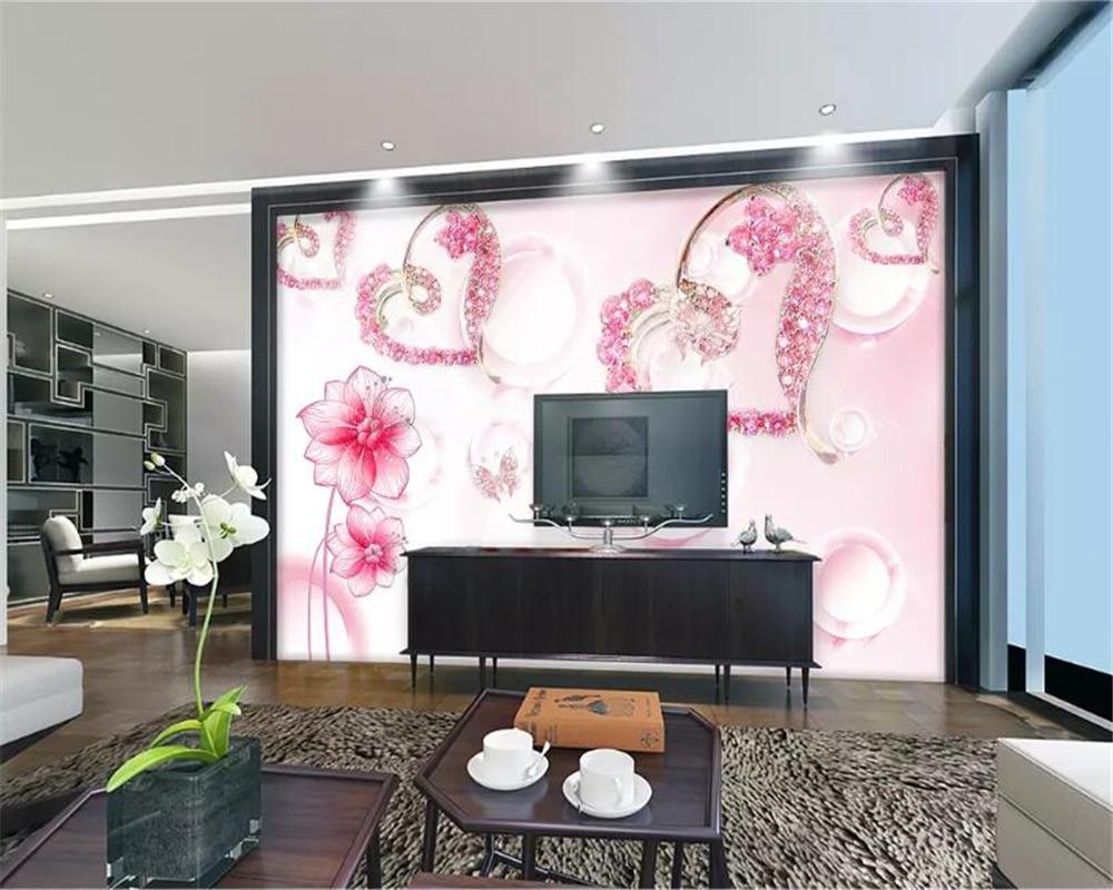 Beibehang Wallpaper Kustom 3D HD Modern Floral Cinta Wallpaper Dinding Modern Abstrak Seni Ruang Tamu Kamar