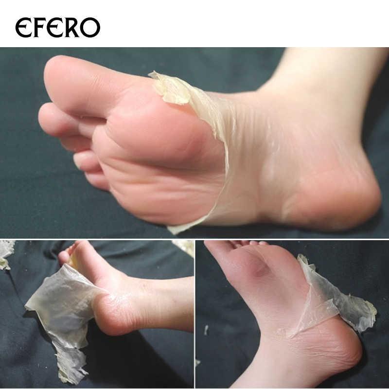 Efero máscara de descamação para pés, 2 peças = 1 par de meias esfoliantes para pedicure, anti craquela adesivo para remoção do calcanhar,
