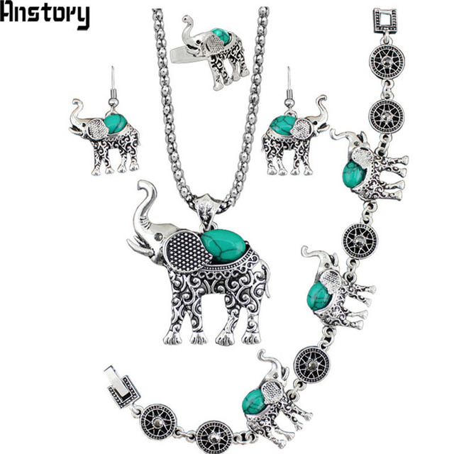 Elephant Pendant Stone Jewelry Sets Necklace Bracelet Earrings Ring For Women Vintage Antique Silver Plated Gift TS205