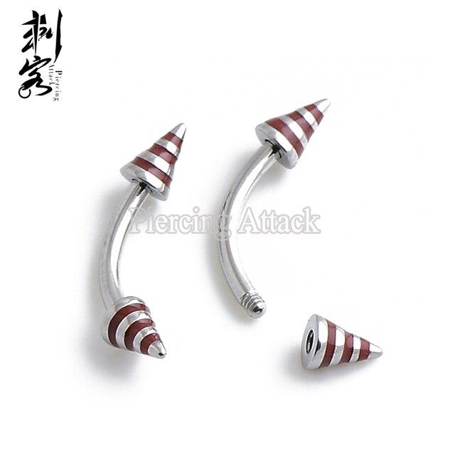 Min Order 10 Free Shipping Epoxy Stripe Spike Eyebrow Piercing 16