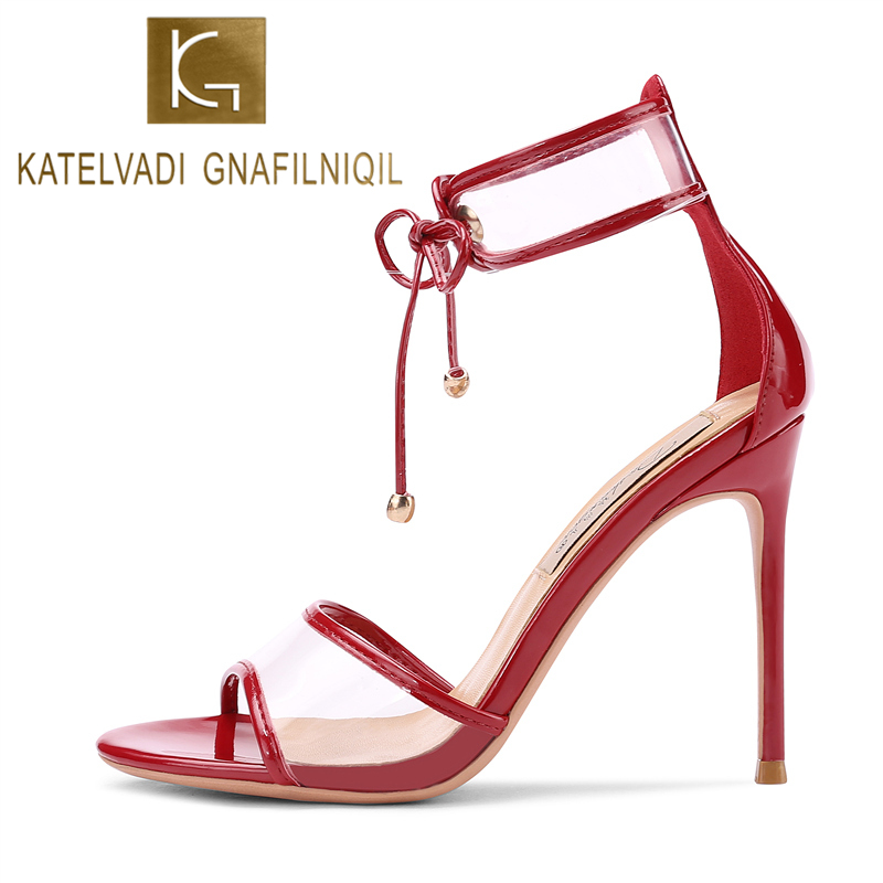 KATELVADI 2019 New Fashion Sandals Black Gladiator Womens Shoes Sexy Open-toed Party 10CM High Heels K-373