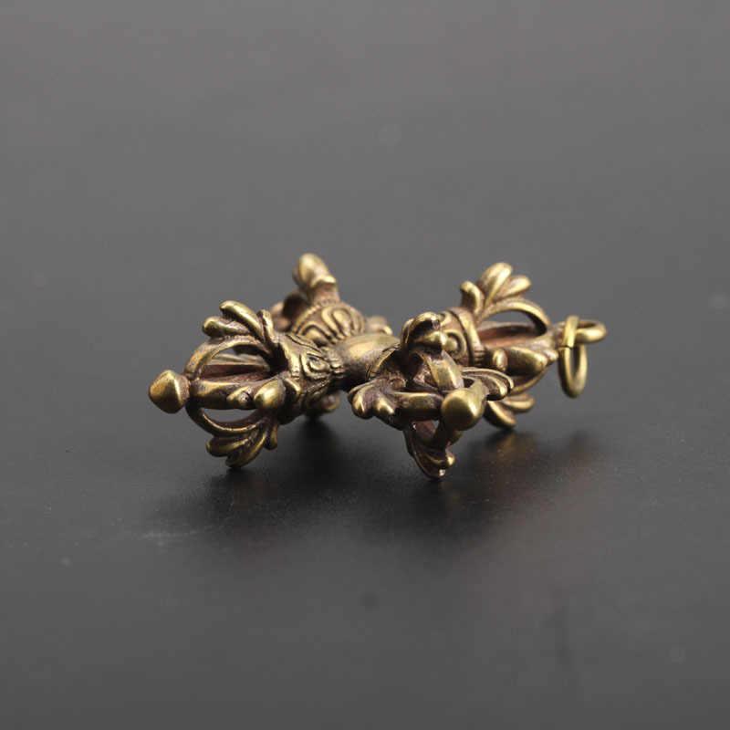 נחושת בודהיזם דורג 'ה צלב Vajry העלי Keychain תליון בציר פליז מתכת מחזיקי מפתחות תיק קסם מפתח טבעות יצירות אמנות אוסף