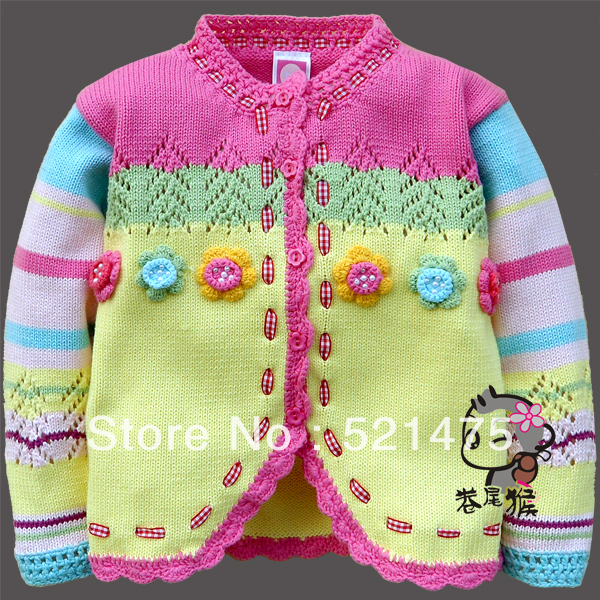 IN STOCK Retail Free shipping  NEW FASHION flower Fengy unbobi children woollen sweater for girl thick style autumn and spring