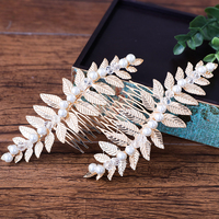 Gold Color Leaves Design Hair Combs Simulated Pearl Headdress Hair Jewelry Bridal Wedding Headpiece Ornaments Party
