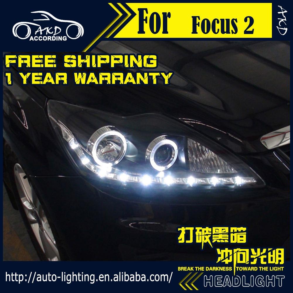 AKD Car Styling Head Lamp for Ford Focus 2 LED Headlight 2009 2011 Focus LED DRL H7 D2H Hid Option Angel Eye Bi Xenon Beam