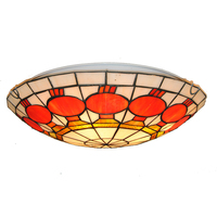 Modern Simple Lanterns Pattern Flush Mount Light European Retro Tiffany Style Stained Glass Ceiling Lamp For