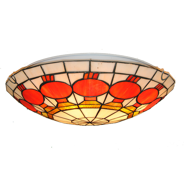 Modern Simple Lanterns Pattern Flush Mount Light European Retro Tiffany Style Stained Gl Ceiling Lamp For