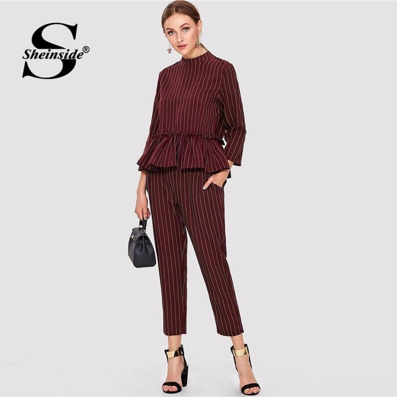Sheinside Striped Burgundy Ruffle Hem Elegant Laides Top And Pants Two Piece Set 2018 Long Sleeve Women Autumn 2 Piece Set