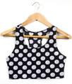 SexeMara Knitting X-117 New 2015 Polka Dot Tank Top wave point Sexy crop top Summer Vest  women clothing plus size