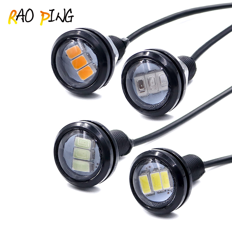 Raoping 2PCS Eagle Eye Led Drl 23mm Car Led Daytime Running Light Parking Light Fog Tail Lamp Waterproof Car Light 5630 12V Bulb leadtops car led lens fog light eye refit fish fog lamp hawk eagle eye daytime running lights 12v automobile for audi ae