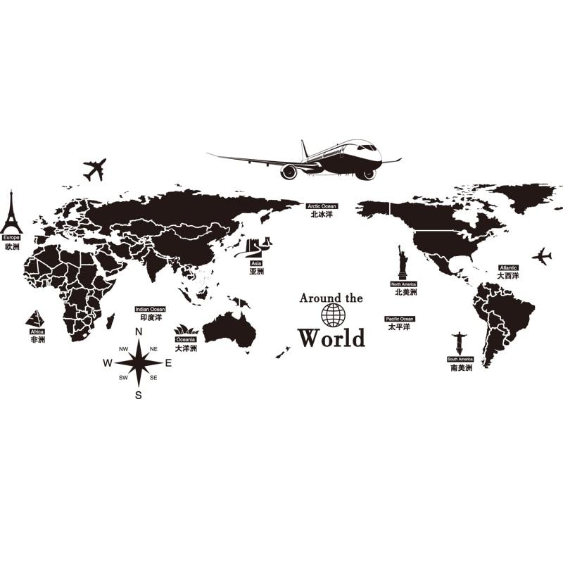 [SHIJUEHEZI] Qara Rəng Dünya xəritəsi Divar Stikeri Vinil DIY - Ev dekoru - Fotoqrafiya 2