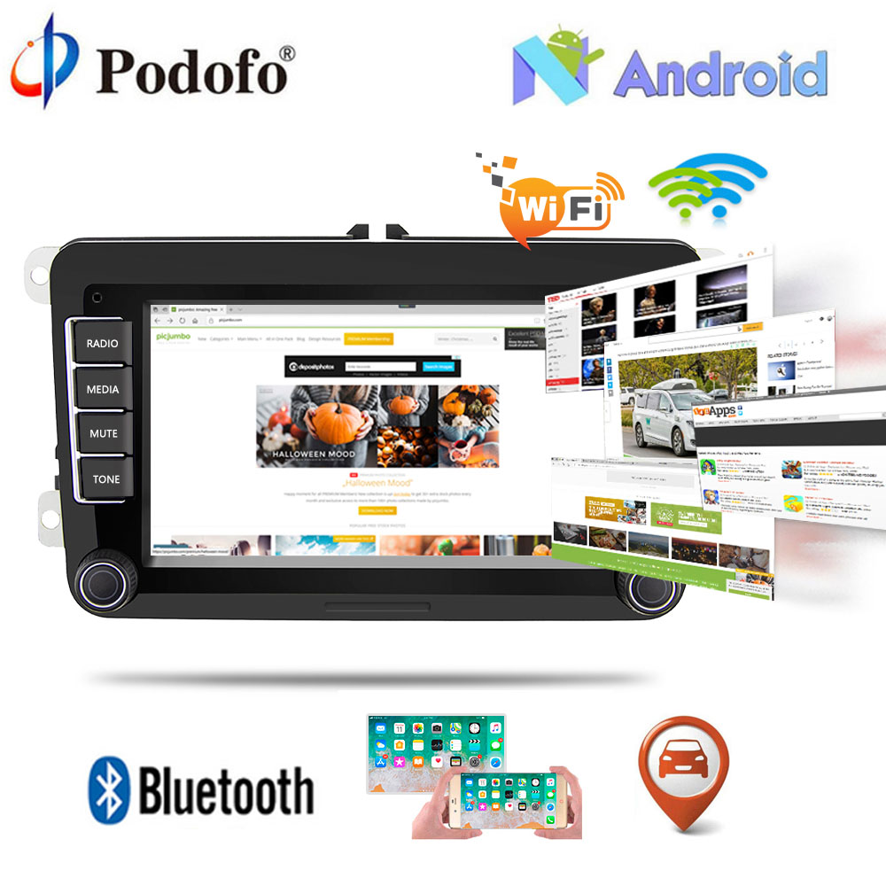 "Podofo Android Car Radio GPS Wifi Bluetooth Car Multimedia player 7"" HD 2Din Audio Stereo Touch Mirrorlink Autoradio For VW Cars"