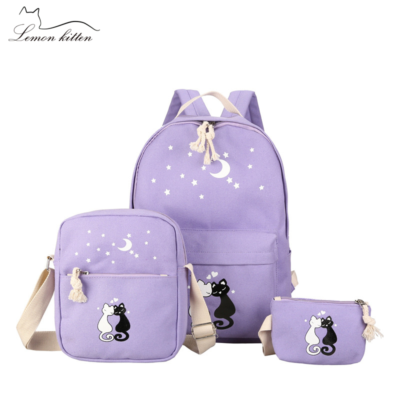 Scuola 2018 Della Black Zaino Di Cat deep Donne Set Cute Bagpack Del Sacchetto Blue Studente Coreano Emoji purple pink Femminile blue Ragazza New 3 Teengaer Mochila aRdqPPz