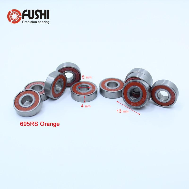695-2RS Bearing ABEC-3 10PCS 5x13x4 mm Miniature 695RS Ball Bearings 619/5RS Z2V1 Orange Sealed bearing 695 2RS 6702rs bearing abec 3 10pcs 15 21 4 mm thin section 6702 2rs ball bearings 61702 rs 6702 2rs with orange sealed