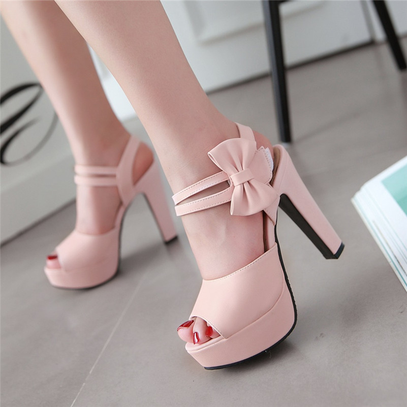 Big size 34-43 Thick High Heels Platform Summer Dress Shoes For Women Sexy Casual Peep Toe Sandal Hot Sale Ankle Straps Sandals new 2016 sexy gladiator ankle straps high heels fashion brand women sandal summer mixed colors open toe sandalias big size 34 43