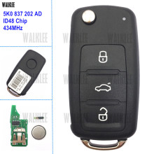 WALKLEE 3 кнопки дистанционного ключа подходит для VW/VOLKSWAGEN Caddy Eos Golf Jetta Beetle Polo Up Tiguan Touran 5K0837202AD 5K0 837 202 AD