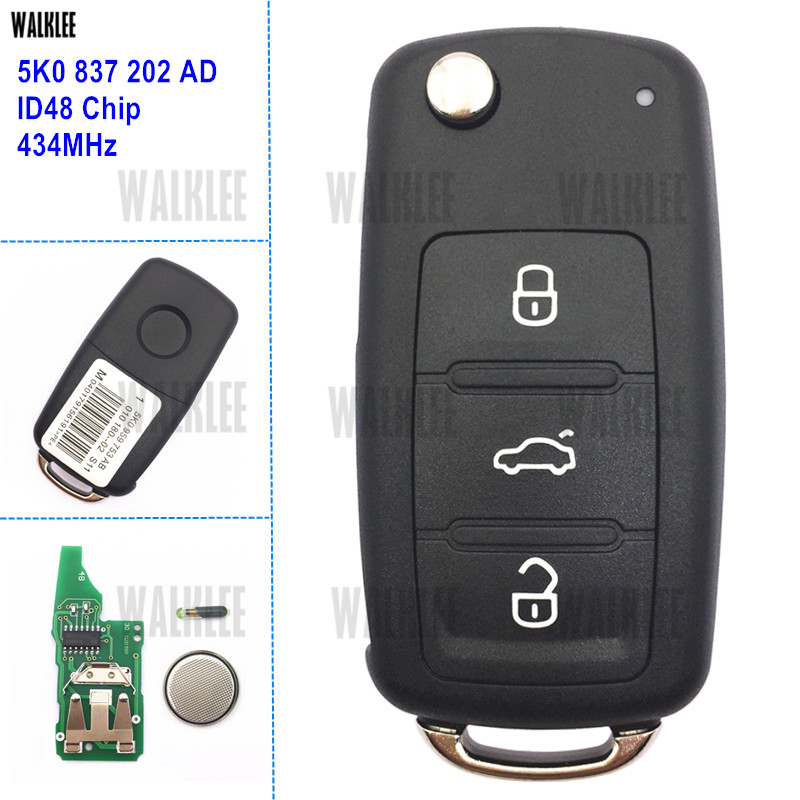 Clé à distance à 3 boutons WALKLEE pour VW/VOLKSWAGEN Caddy Eos Golf Jetta Beetle Polo Up Tiguan Touran 5K0837202AD 5K0 837 202 da