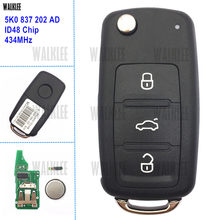 WALKLEE 3 Tombol Tombol Remote Cocok untuk VW/VOLKSWAGEN Caddy Eos Golf Jetta Beetle Polo Up 5K0837202AD Touran Tiguan 5K0 837 202 AD(China)