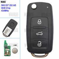 WALKLEE 3 Tasti Chiave A Distanza Adatto per VW/VOLKSWAGEN Caddy Eos Golf Jetta Beetle Polo Fino Tiguan Touran 5K0837202AD 5K0 837 202 AD