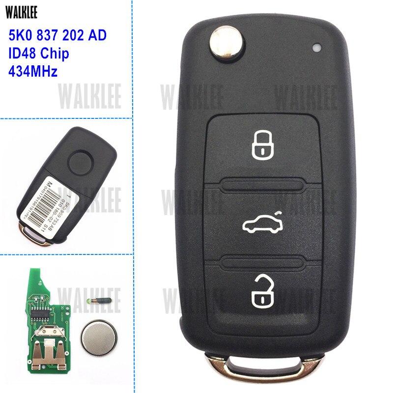 Walklee 3 botões chave remota apto para vw/volkswagen caddy eos golf jetta beetle polo up tiguan touran 5k0837202ad 5k0 837 202 ad