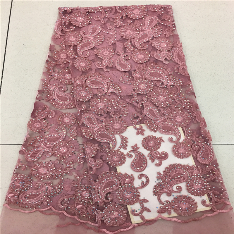 Onion Color Handcut French Velvet Lace Fabric 2019 Embroidered Nigerian French Tulle Mix Velvet Lace Fabric