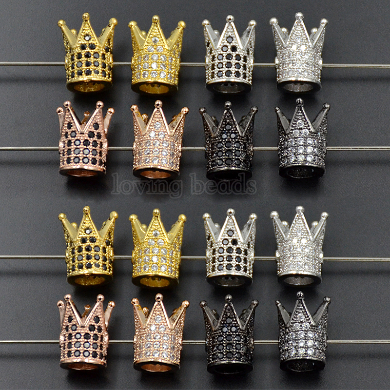 10Pcs/Lot Crown Zircon Gem Stones Micro Pave Connector Bracelet Charm Beads Gunmetal Gold Silver Rose Gold 10x12mm Wholesale