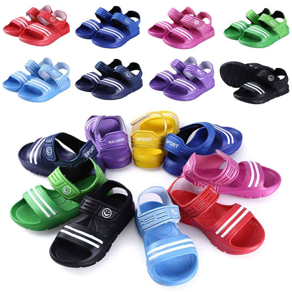 2019 nueva moda verano niños niñas sandalias verano playa plana Casual gancho niños zapatos de tamaño normal