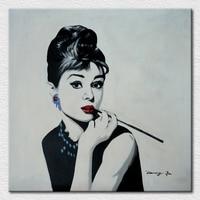Moder decor art tela di canapa pittura stampato di bella signora audrey hepburn, immagine da colazione da tiffany trasporto libero