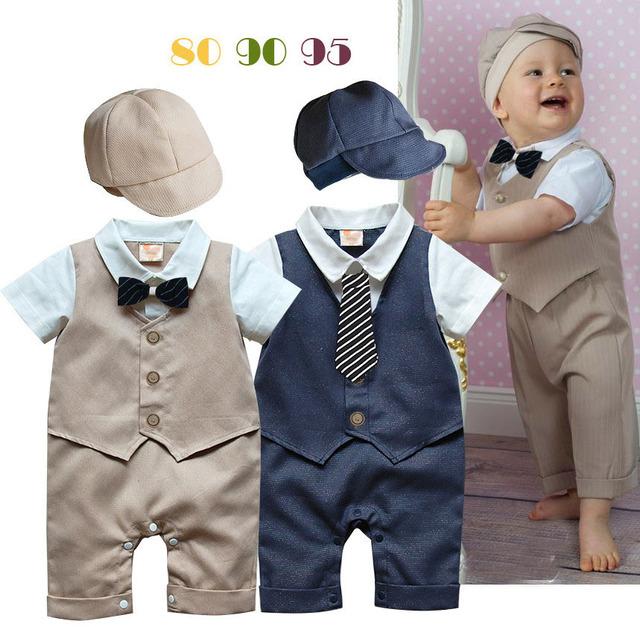 Bebé del verano de manga corta pajarita de color caqui y azul long tie mameluco + sombrero set suit infant toddler señores chaleco partido mono