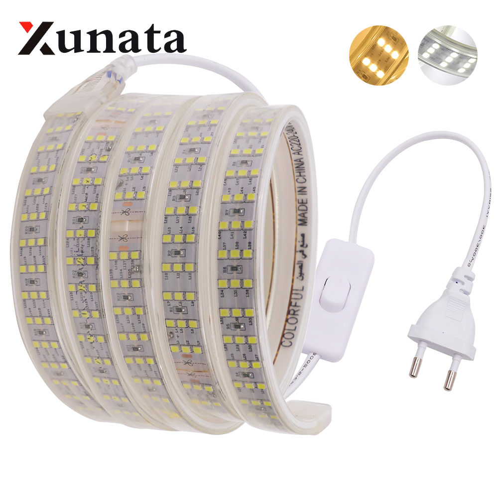 220V 276Leds/m SMD 2835 LED Strip Three Row Waterproof White Warm White Flexible Led Strip Light With Switch For Home Decoration
