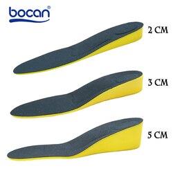 Aumento da altura palmilhas para homens/mulheres 2/3/5 centímetros up invisiable ortopédicas suporte arch palmilhas de choque absorção de cor azul/preto