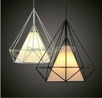 Preto/branco arte moderna pingente de diamante lâmpada criativa luz para restaurante bar decoração para casa frete grátis PLL-72