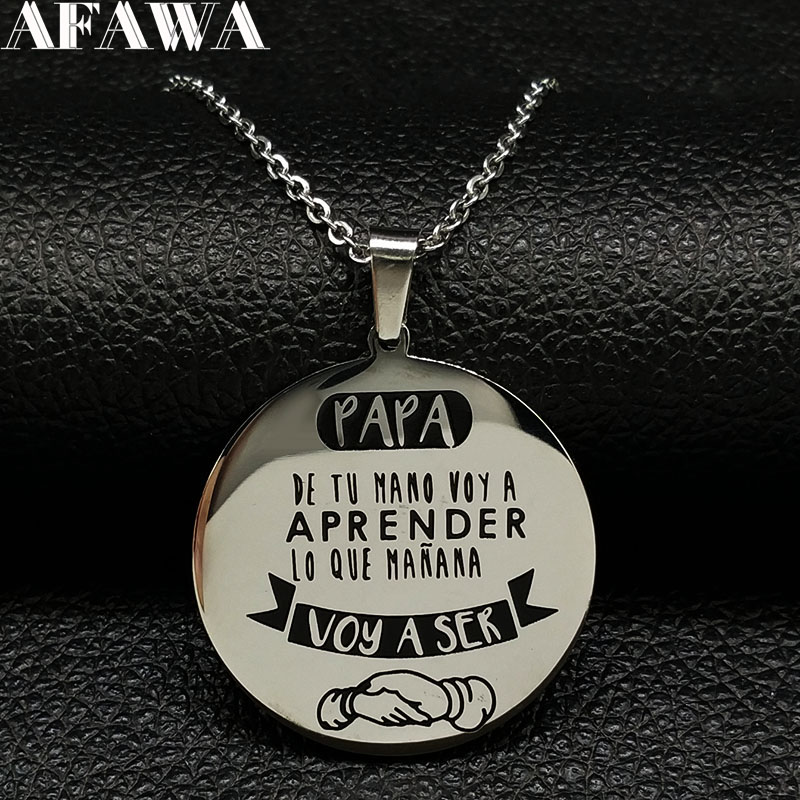 2018 PAPA Acier Inoxydable Déclaration Collier pour Hommes Papa Argent Colo Colliers Pendentifs Bijoux acero inoxidable joyeria N1843