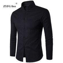 2017 New summer men's casual long sleeved shirt China style popular men mandarin collar fashion Chinese-style costume Shirt
