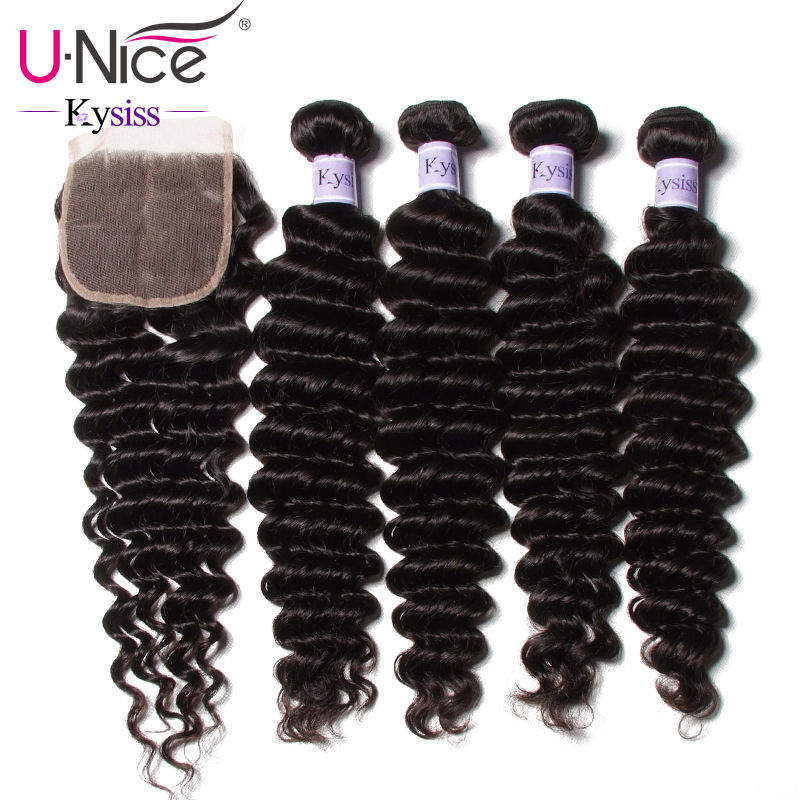 UNice Hair Kysiss Series 8A Brazilian Deep Wave 4 Bundles With Closure 12 26 Natural Color