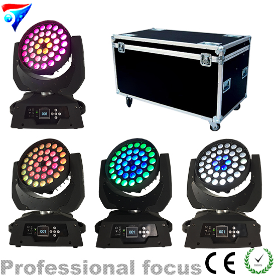 Free Shipping 4pcs/Lot Flight Case Packing Stage Professional Dj Equipment 36*18W RGBWA+UV 6in1 Led Moving Head Zoom Wash Light