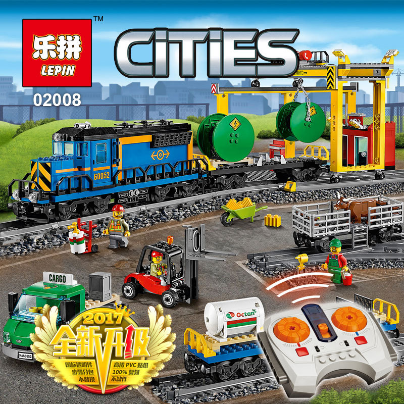 Lepin 02008 city series the RC freight train set 959pcs compatible 60052 model building Blocks bricks birthday gifts boy toys cargo train model block toys city rc train birthday gifts for children compatible lepin technic series building blocks set 02008