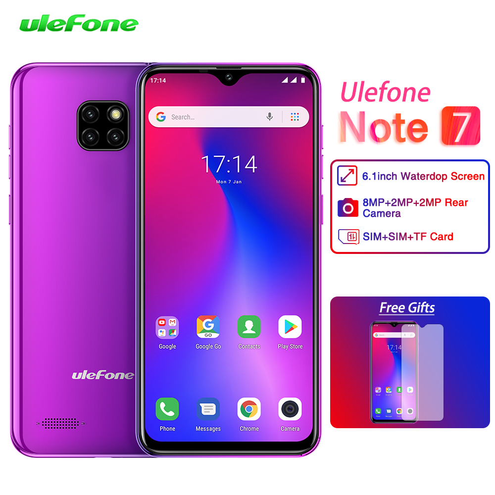 Ulefone Note 7 Smartphone 1GB RAM 16GBM ROM 19:9 MT6580A Quad Core 6.1inch Waterdrop Screen 3500mAh Android 8.1 Mobile Phone