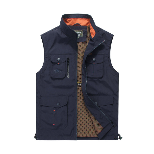 Nianjeep Vests Men Nylon Spring Autumn Casual Jacket Men's  Casual Vest Men Military Cargo Army Green Waistcoat Men Vests 4XL