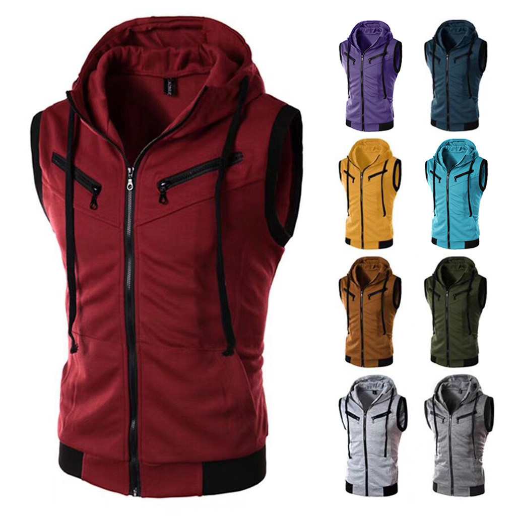 HTB1w41Icv1H3KVjSZFHq6zKppXaE - New Arrival Vests For Men Slim Fit Fashion Men's Summer Casual Hooded Pure Color  Short Sleeve Top Blouse